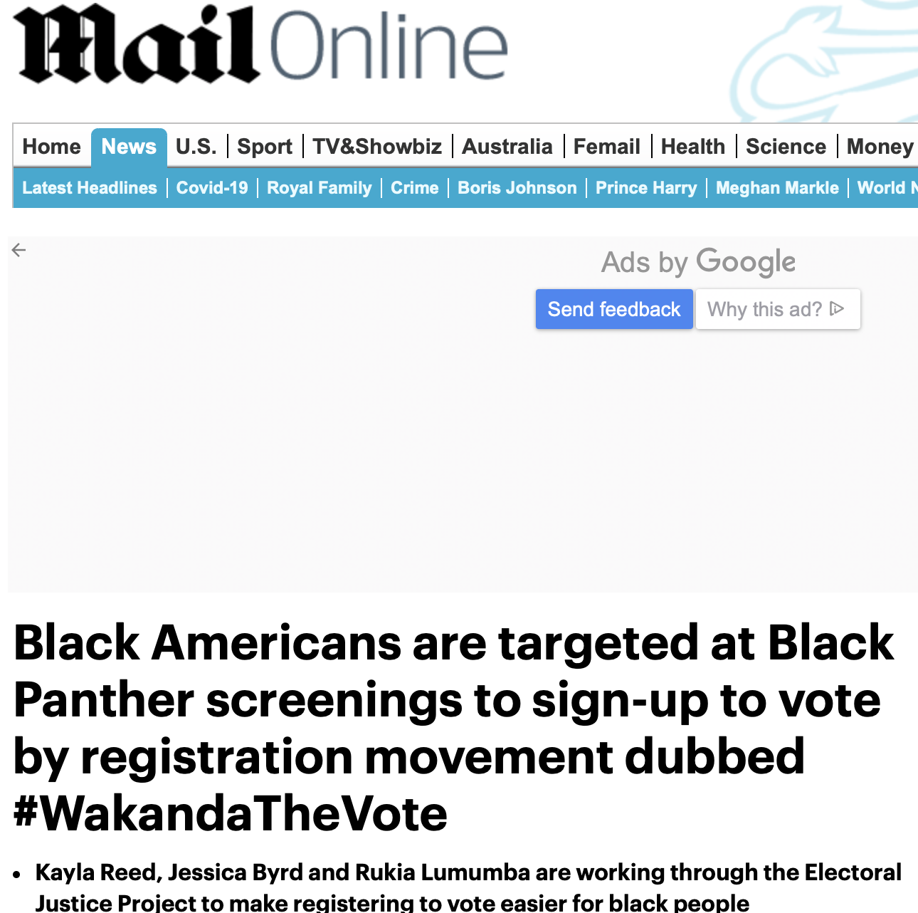 Black Americans are targeted at Black Panther screenings to sign-up to vote by registration movement dubbed #WakandaTheVote