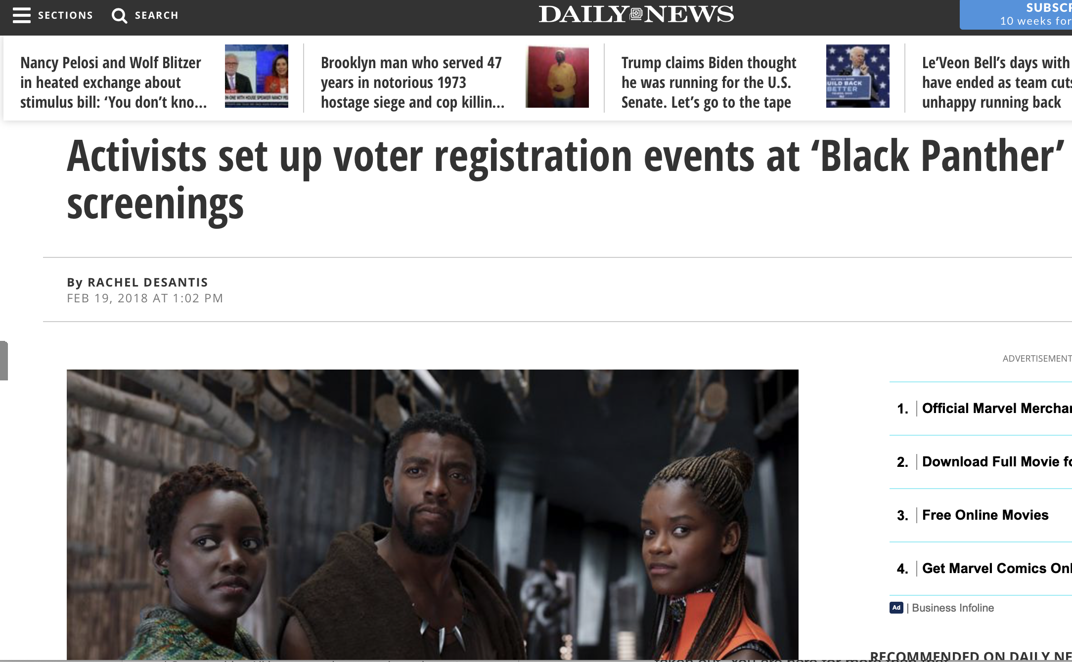 Activists set up voter registration events at 'Black Panther' screenings