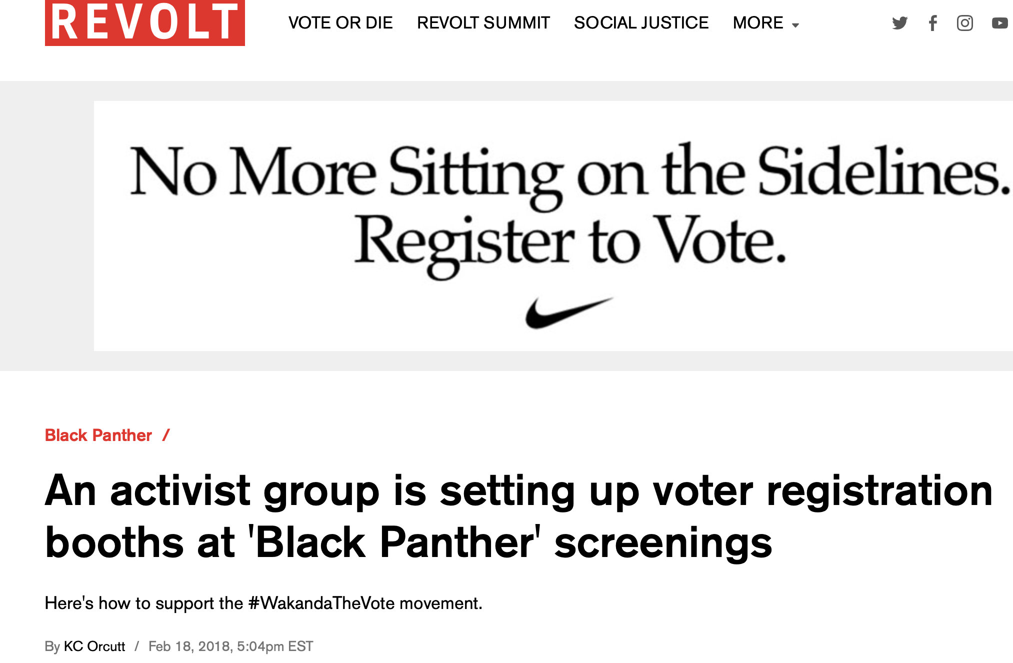 An activist group is setting up voter registration booths at 'Black Panther' screenings