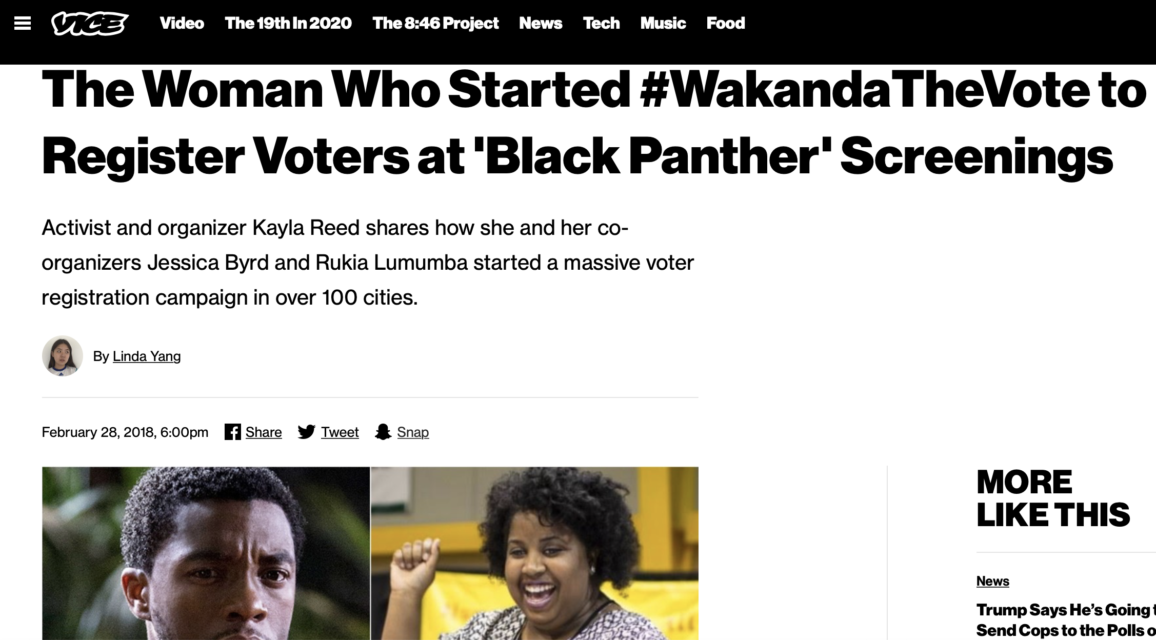The Woman Who Started #WakandaTheVote to Register Voters at 'Black Panther' Screenings